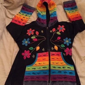 One of a kind hand quilted  HOODIE